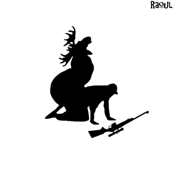 Autocollant sticker humour - cerf chasseur