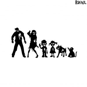 Autocollant sticker famille zombie
