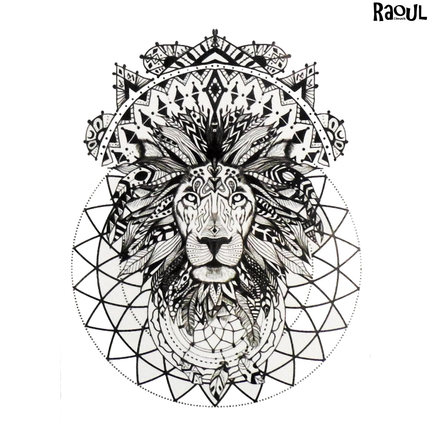 Tatouage éphémère animal lion mandala