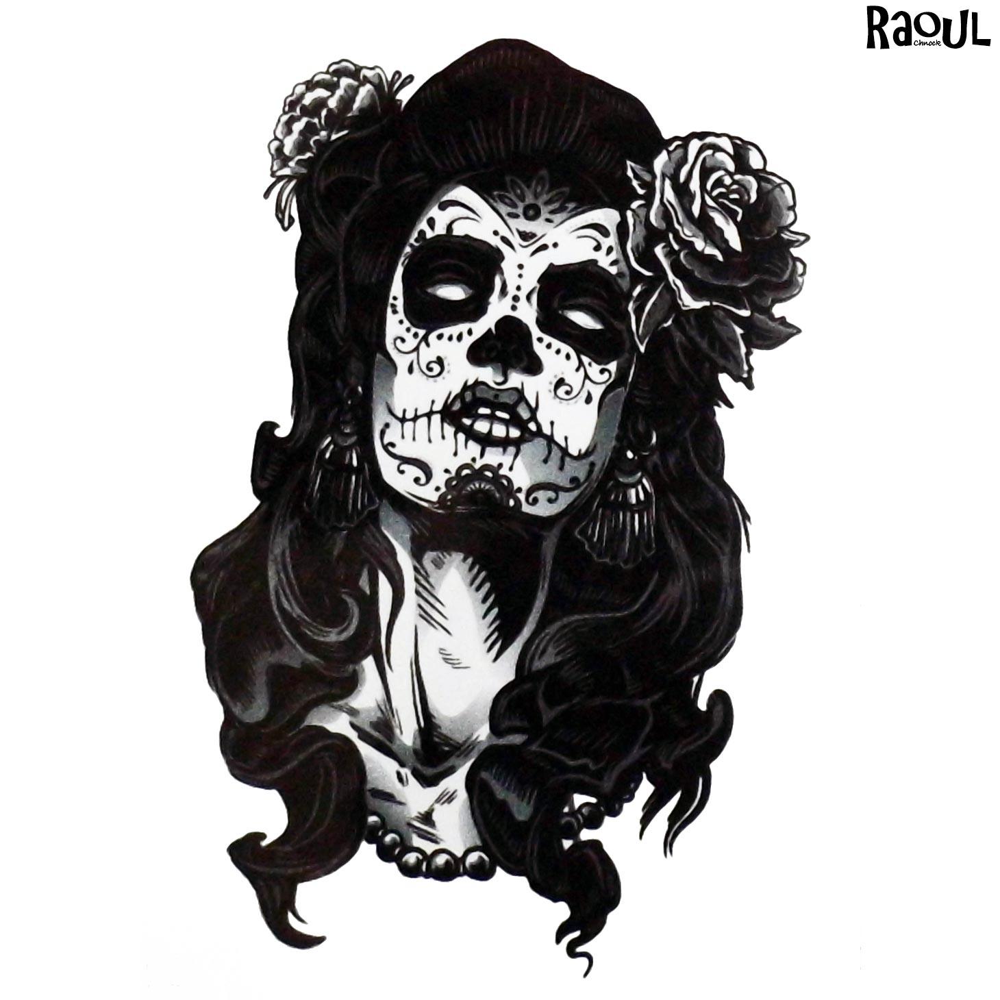 Tatouage éphémère d'une femme zombie