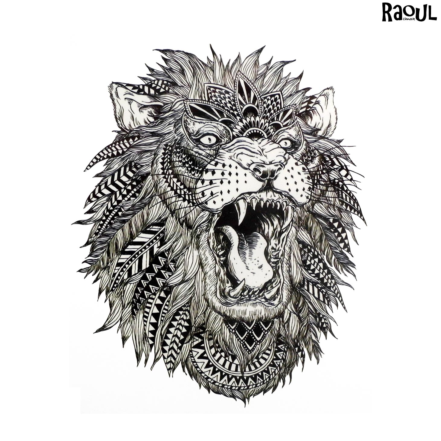 Tatouage Ephemere D Un Lion Rugissant Avec Plume Raoul Chnock