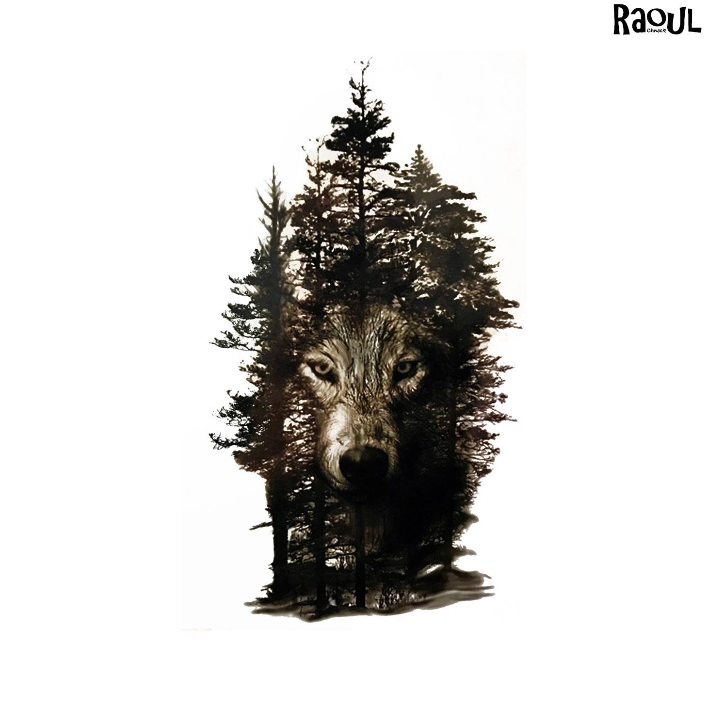 Tatouage éphémère animal loup