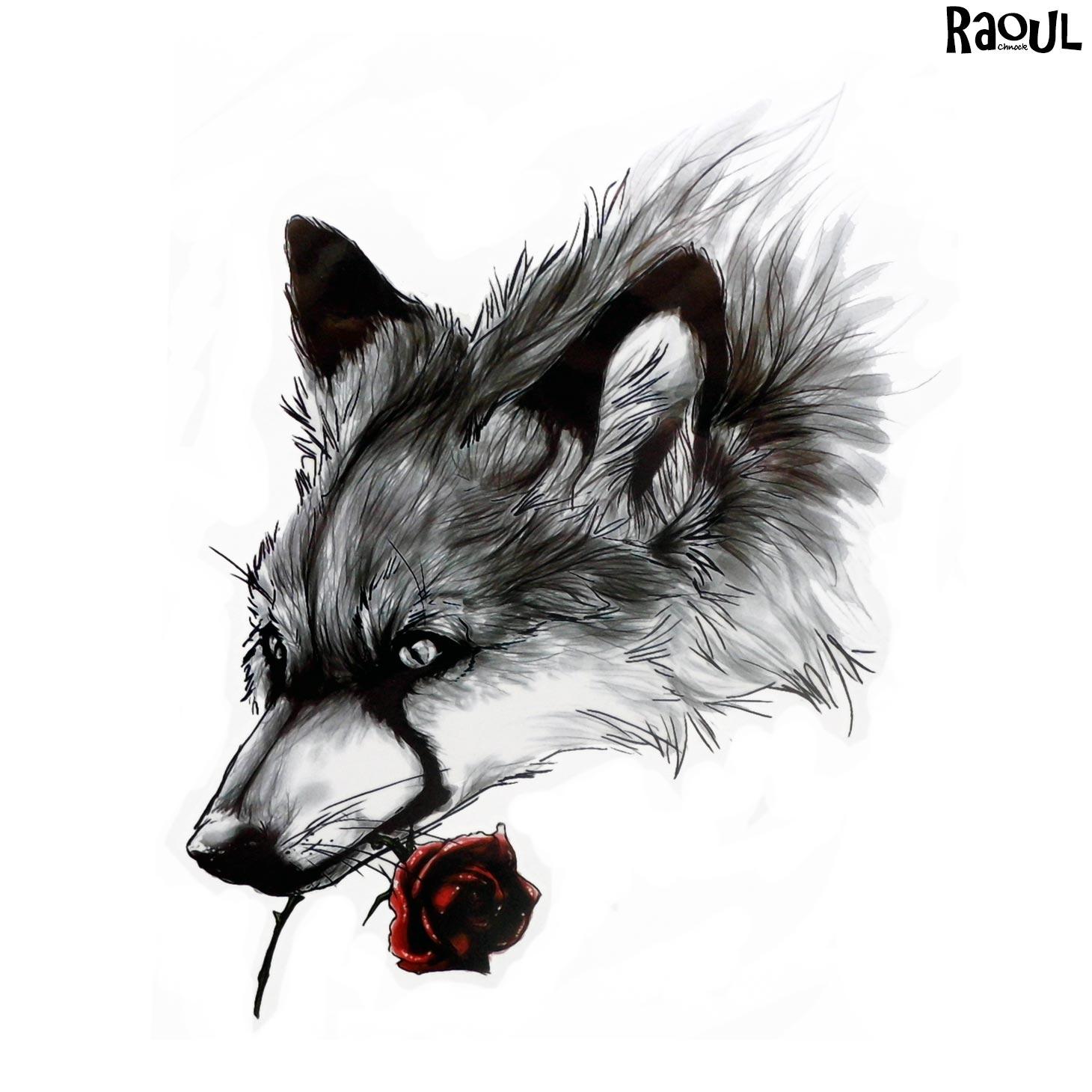 Tatouage Ephemere D Un Loup Tenant Dans Sa Gueule Une Rose Raoul