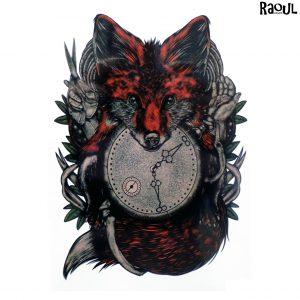 Tatouage éphémère animal renard