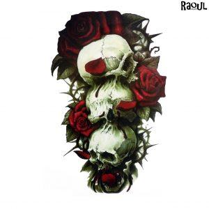 Tatouage éphémère bouquet roses et cranes
