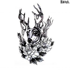 Tatouage éphémère cerf avec bijoux fleurs