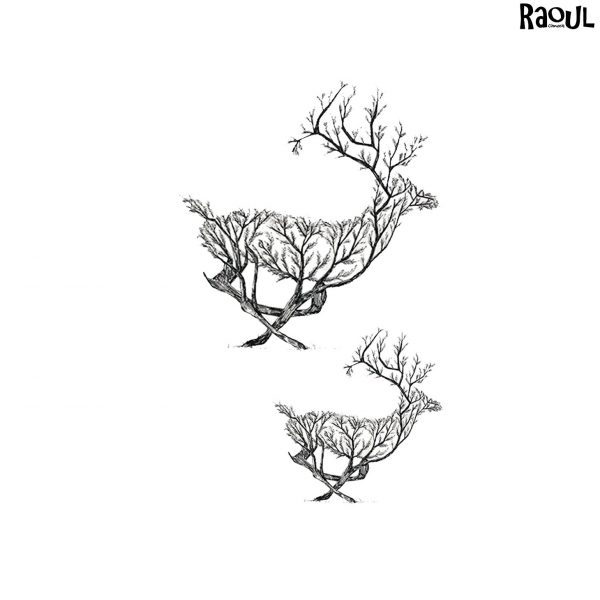 Tatouage éphémère cerf branche