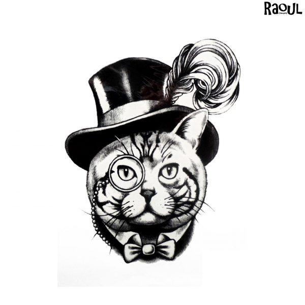 Tatouage éphémère chat avec haut de forme