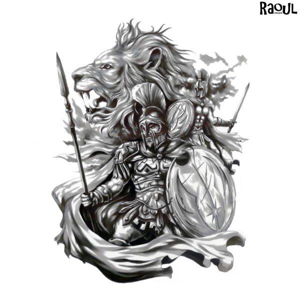 Tatouage éphémère guerrier lion