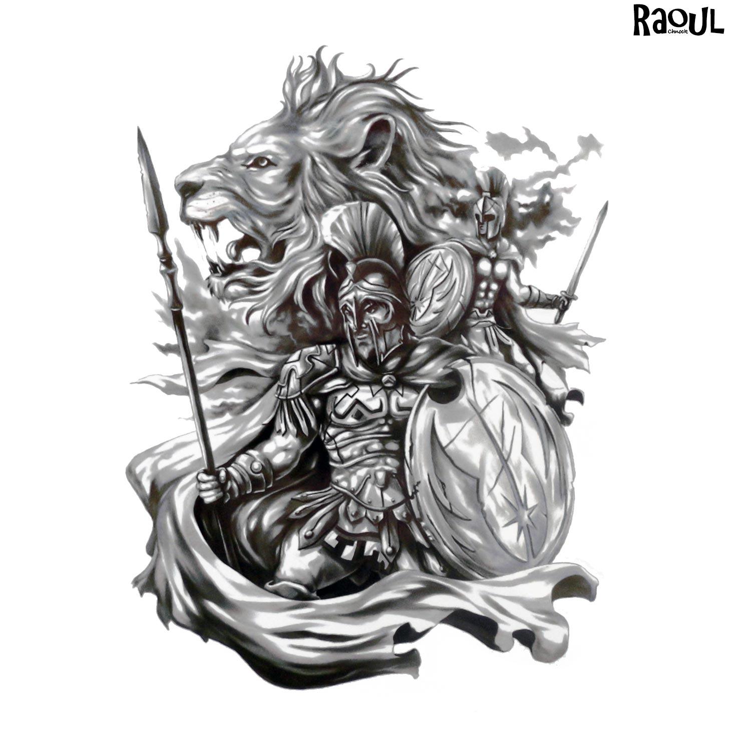 Tatouage Ephemere D Un Guerrier Et D Un Lion Raoul Chnock