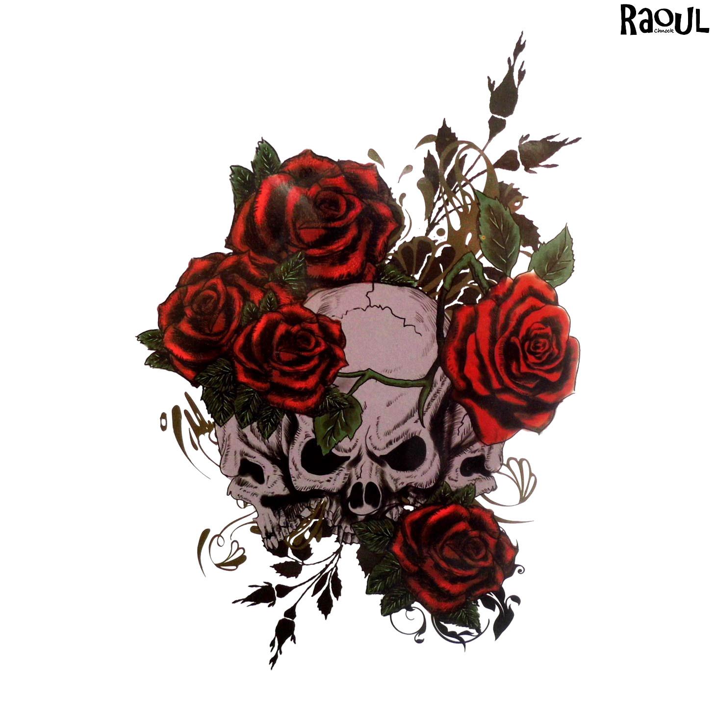 Tatouage Ephemere De Cranes Avec Des Roses Raoul Chnock