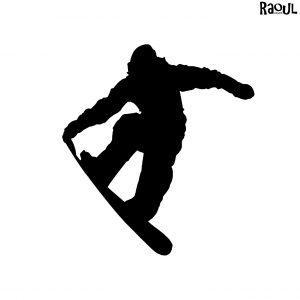 Autocollant sticker sport - snowboarder