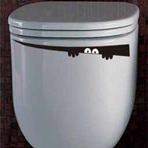 Autocollant toilette yeux cache