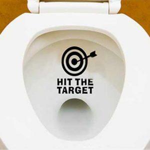 Autocollant sticker toilette touche la cible