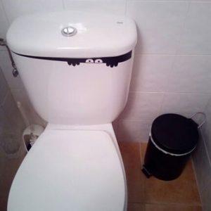 Autocollant sticker toilette yeux cache